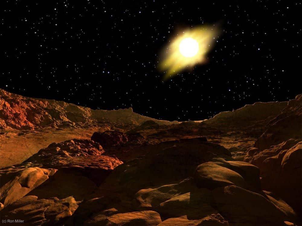 Pogled s površine Merkura, udaljenog 58 milijuna kilometara od Sunca (Credit: Ron Miller)