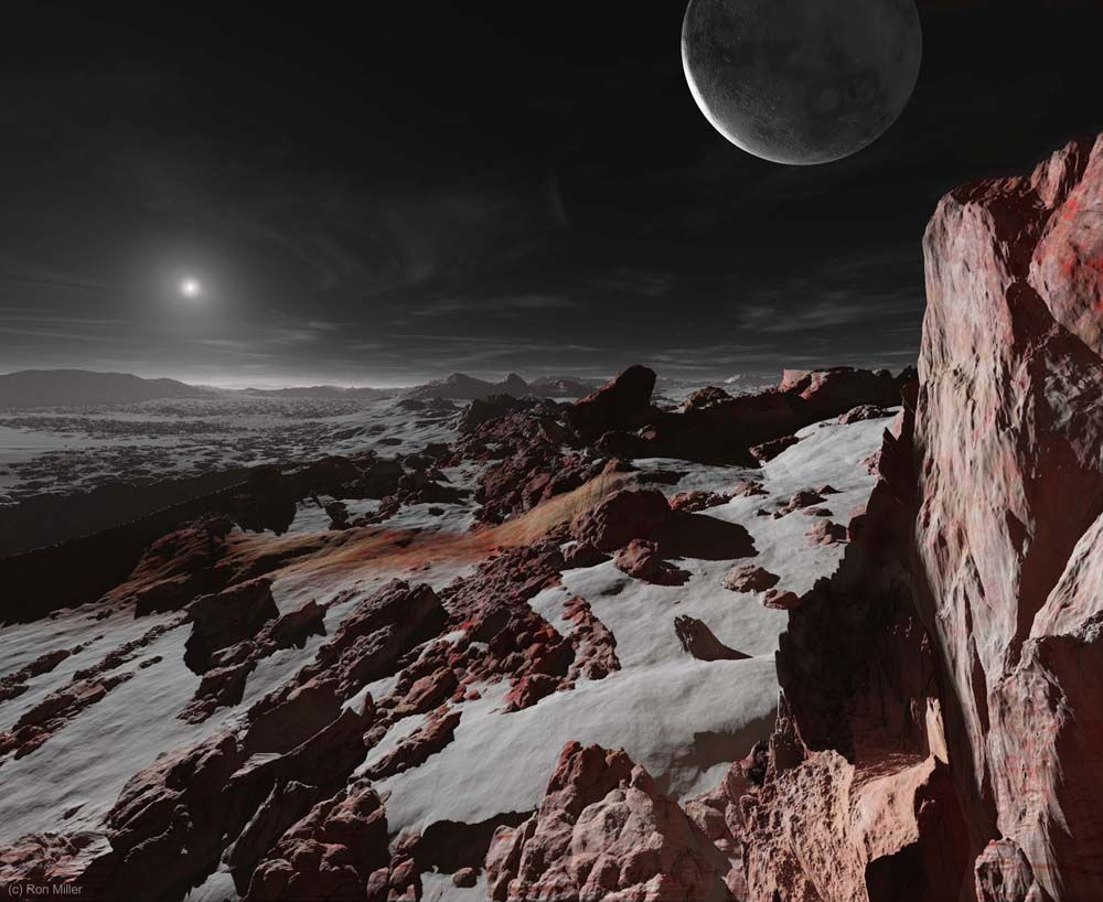 Pluton, iako administrativnom odlukom više nije dio planetarne obitelji, ovom je prilikom uzet u obzir. Njegova prosječna udaljenost od Sunca iznosi golemih 5,9 milijardi kilometara (Credit: Ron Miller)