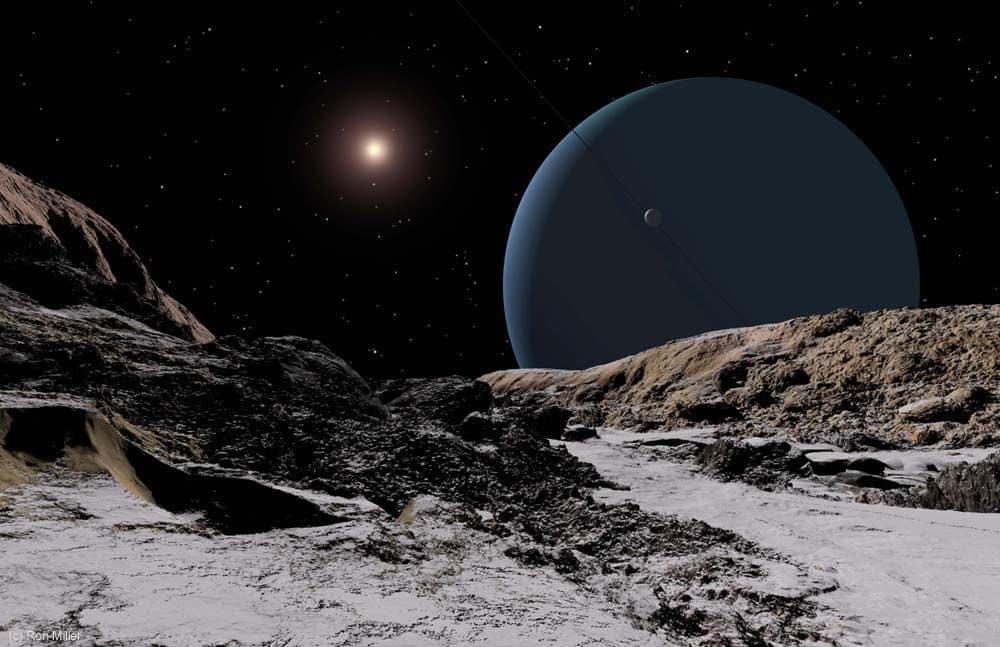Uran, promatran s mjeseca Ariela, 2,9 milijardi kilometara daleko je od Sunca (Credit: Ron Miller)