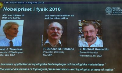 Winners of the Nobel Prize in Physics (L-R) David J Thouless, F Duncan M Haldane and J Michael Kosterlitz are displayed on a screen during a press conference to announce the winner of the 2016 Nobel Prize in Physics at the Royal Swedish Academy of Sciences in Stockholm on October 4, 2016.  British-born scientists David J. Thouless, F. Duncan Haldane and J. Michael Kosterlitz won the Nobel Physics Prize for revealing the secrets of exotic matter, the Nobel jury said. / AFP PHOTO / JONATHAN NACKSTRANDJONATHAN NACKSTRAND/AFP/Getty Images