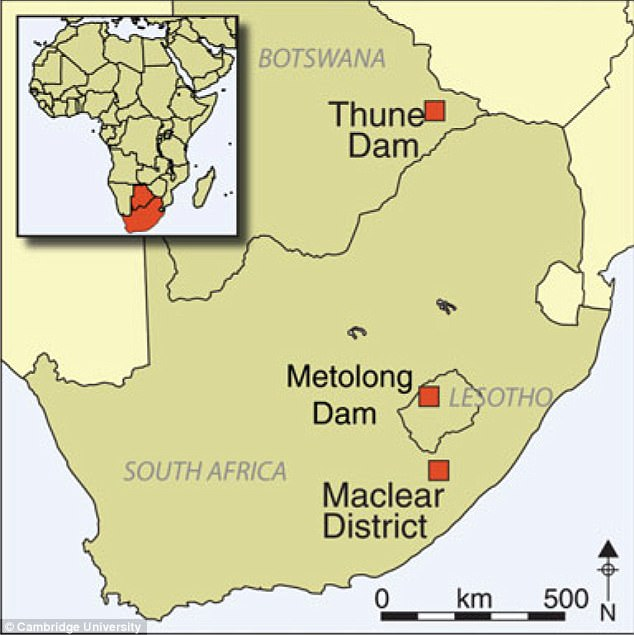 The rock art in questions is located at 14 sites in three different regions of Southern Africa: the Thune Dam, Botswana, the Phuthiatsana Valley, Lesotho and the Maclear District in South Africa